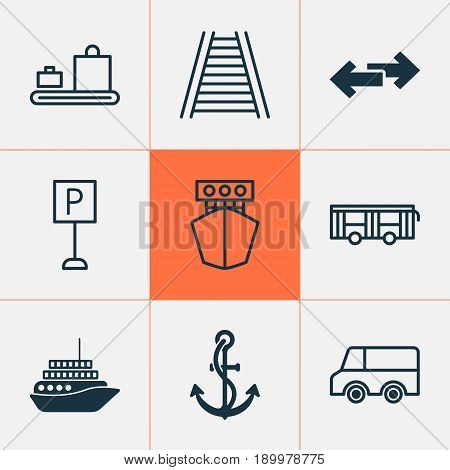 Delivery Icons Set. Collection Of Railroad, Lorry, Ship And Other Elements. Also Includes Symbols Such As Roadsign, Anchor, Vehicle.