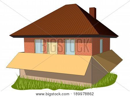 new home abstract house in the box on lawn