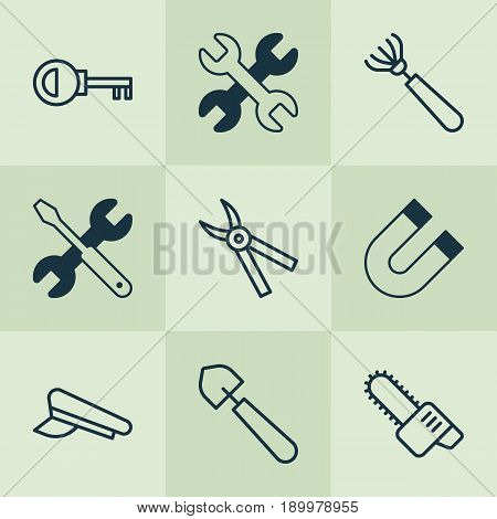 Equipment Icons Set. Collection Of Harrow, Password, Pliers And Other Elements. Also Includes Symbols Such As Magnet, Cap, Harrow.