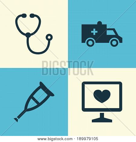 Drug Icons Set. Collection Of Diagnosis, Bus, Device And Other Elements. Also Includes Symbols Such As Cure, Crutch, Nurse.