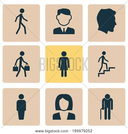 Human Icons Set. Collection Of Male, Delivery Person, Work Man And Other Elements. Also Includes Symbols Such As Ladder, Female, Businessman.