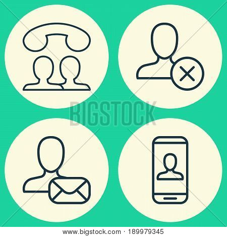 Social Icons Set. Collection Of Ban Person, Speaking People, Privacy Information And Other Elements. Also Includes Symbols Such As Call, Mail, Profile.