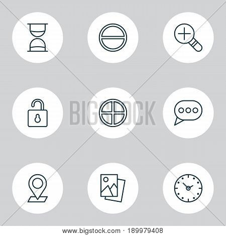 Icons Set. Collection Of Message Bubble, Landscape Photo, Time Elements. Also Includes Symbols Such As Landscape, Image, Add.