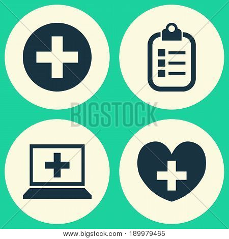 Medicine Icons Set. Collection Of Database, Heal, Mark And Other Elements. Also Includes Symbols Such As Mark, Database, Heart.