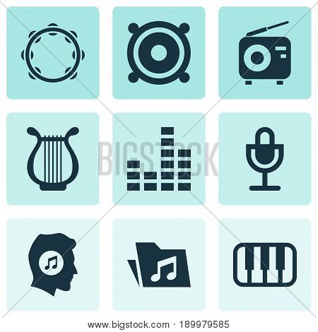 Audio Icons Set. Collection Of Meloman, Timbrel, Mike And Other Elements. Also Includes Symbols Such As Loudspeaker, Mic, Harp.