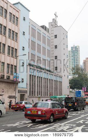 KOWLOON HONG KONG - APRIL 21 2017: Hong Kong Council of the Church of Christ in China at Prince Edward Road Kowloon Hong Kong.