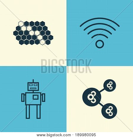 Robotics Icons Set. Collection Of Algorithm Illustration, Wireless Communications, Hive Pattern And Other Elements. Also Includes Symbols Such As Communication, Illustration, Robot.