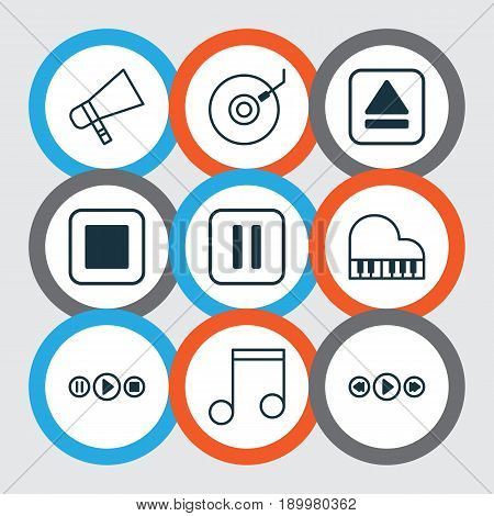 Music Icons Set. Collection Of Note, Music Control, Stop Button And Other Elements. Also Includes Symbols Such As Keyboard, Play, Gramophone.