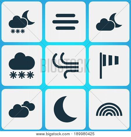 Air Icons Set. Collection Of Flag, Moon, Weather And Other Elements. Also Includes Symbols Such As Weather, Fog, Snowy.