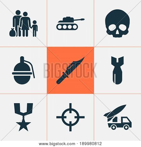 Army Icons Set. Collection Of Fugitive, Rocket, Target And Other Elements. Also Includes Symbols Such As Tank, Panzer, Cutter.