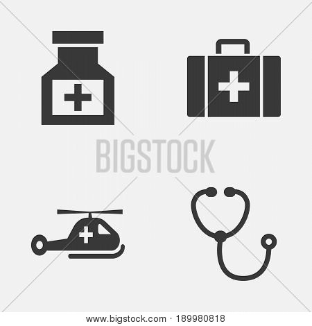 Antibiotic Icons Set. Collection Of Drug, Copter, Chest And Other Elements. Also Includes Symbols Such As Stethoscope, Heartbeat, Chest.