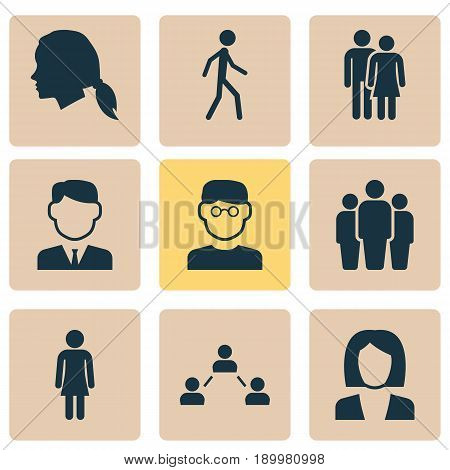 Person Icons Set. Collection Of Group, Beloveds, Jogging And Other Elements. Also Includes Symbols Such As Woman, Work, Businessman.