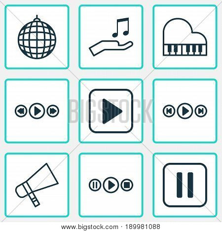 Audio Icons Set. Collection Of Note Donate, Dance Club, Song UI And Other Elements. Also Includes Symbols Such As Control, Audio, Pause.
