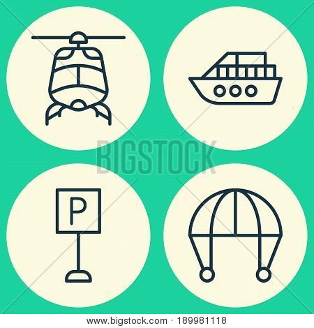 Vehicle Icons Set. Collection Of Boat, Skydive, Roadsign And Other Elements. Also Includes Symbols Such As Helicopter, Aircraft, Boat.