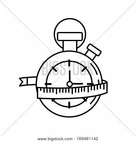 line chronometer with measuring to practice exercise vector illustration