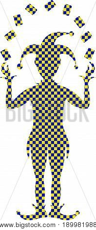 Blue and yellow checked silhouette of Joker playing with cards on white background