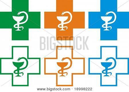 A set of  pharmacy crosses in vector