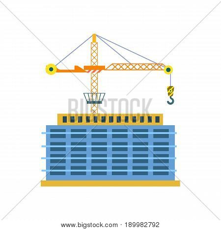 Construction of building isolated icon. Tower crane near multi storey house, skyscraper, modern architecture vector illustration.