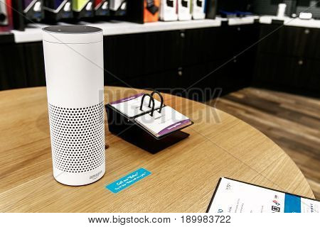 New York June 1 2017: Amazon Echo stands on display on a table in a newly opened Amazon Books store in Time Warner Center.