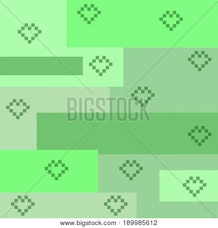 Pixel heart background and green square Pixel heart background and green square