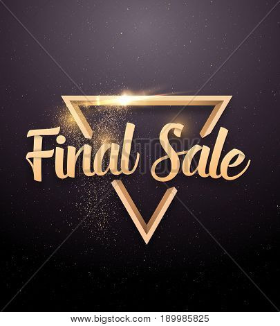 Illustration of Vector Sale Banner Sticker Template. Final Sale Lettering with Rose Gold Glitter Effect
