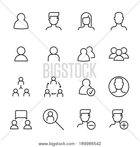 Simple line icons set of users. Vector management, human resources, people and avatar pictograms. Business persons, male, female, profile and others signs. Illustration on a white background.
