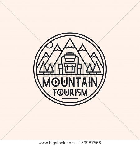 Mountain tourism logo consisting of mountains and backpack line style isolated on background for camping logotype, travel badge, explore emblem, hiking sticker, climbing symbol, expedition label