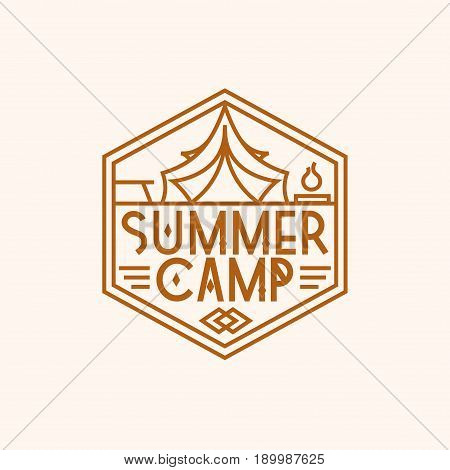 Summer camp logo consisting of tent and campfire line style isolated on background for camping logotype, explore emblem, hiking sticker, tourist symbol, travel badge, expedition label, poster, t-shirt