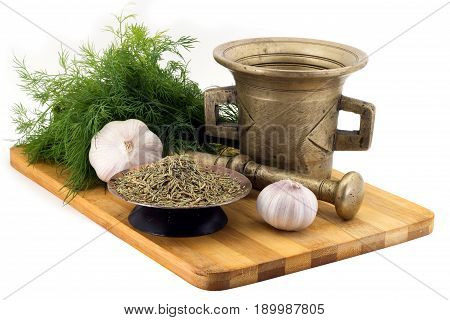 Composition Of Spices, Rosemary, Dill, Garlic, Vintage Spice Grinder Isolated On White Background