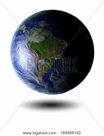 South America On Hovering Globe