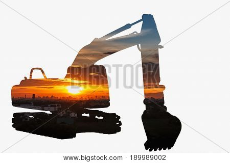 Sunset at over city building in Excavator loader modelConcepts Double exposure on white background