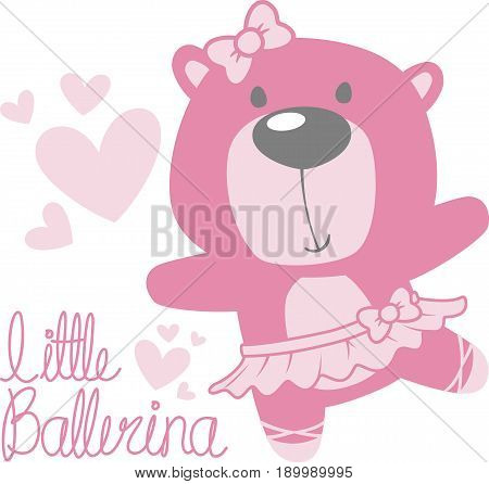 cute baby bear ballerina with tutu and pink hearts isolated on