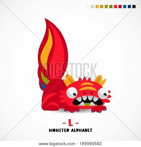 Monster alphabet. Letter L. A strange animal. Vector illustration on white background. Great children's print. The concept of a kid's toy.