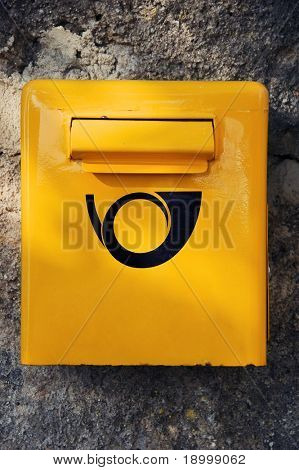 Yellow letter post box poster