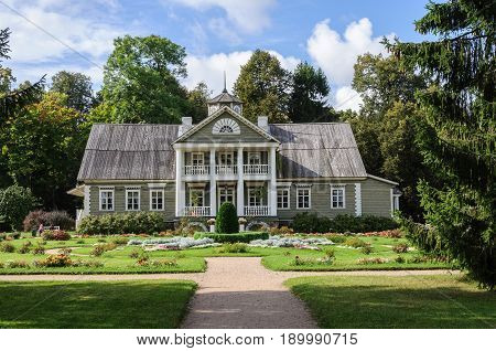 Petrovskoye, Pushkinskiye Gory, Russia - September 10, 2015: Manor house of Peter Abramovich and Benjamin Petrovich Hannibal. State Museum-reserve of A. S. Pushkin.