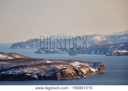 Panoramic view of winter Bay national Park. Kamchatka. Russia.