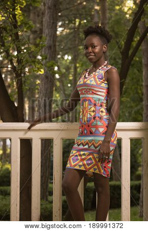 One, Young Adult, Black African American Happy Smiling Woman 20-29 Years, Looking To Camera, Outdoor