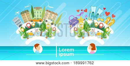 Man and Woman Tourist Destination Summer Vacation Tourism Concept Flat Vector Illustration