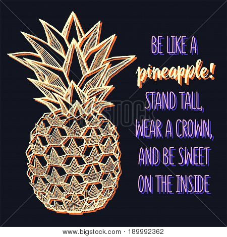 Fresh Pineapple isolated on black background. Hand-drawn ink vector illustration for t-shirts, banners, posters etc