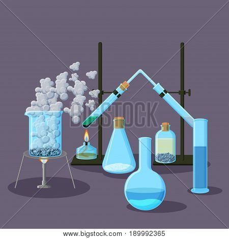 Chemical equipment and experiments abstract background on purple. Chemistry concept. Cartoon vector illustration in flat style.
