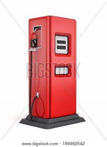 3d rendering of red gas pump isolated on white background. Fuel dispenser. Fill full tank. Road trip.