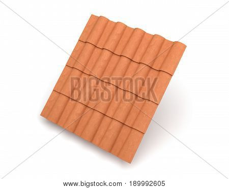 3d rendering of group interlocked terracotta barrel tiles isolated on white background. Weatherproof house. Good quality tiles. Exterior building design.