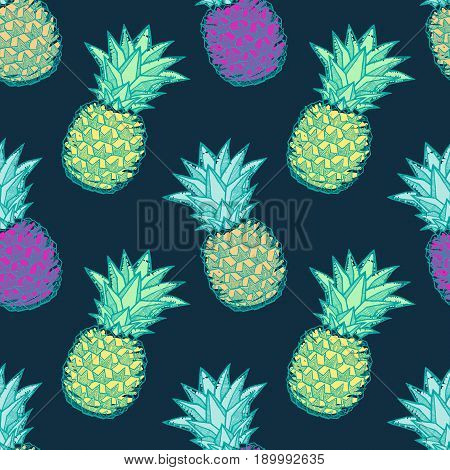 Seamless pattern with ink hand-drawn multicolored pineapples on dark background. Vector illustration