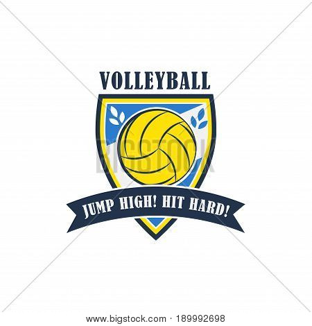 Volleyball badge, creative label jump high, hit hard for players competing in sport game, athletes and coaches motto, t-shirt badge for fan zone or volunteers, vector illustration