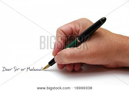 Man writing with fountainpen