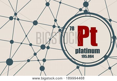 Platinum chemical element. Sign with atomic number and atomic weight. Chemical element of periodic table. Molecule And Communication Background. Connected lines with dots.