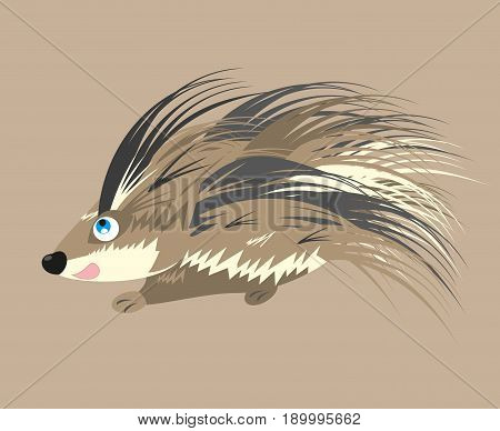 porcupine cartoon. vector isolated on a simple background (editable layers)