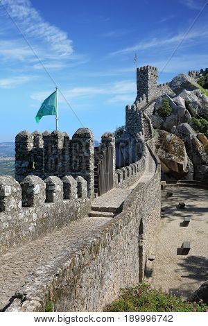 Moorish castle in the municipality of Sintra about 25km northwest of Lisbon Portugal