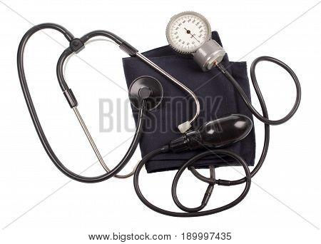 Blood pressure gauge isolated on white background