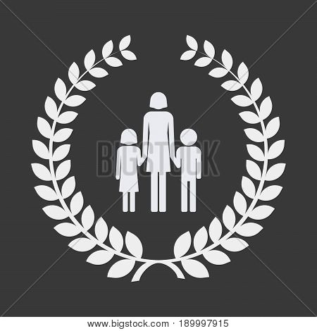 Isolated Laurel Wreath With A Female Single Parent Family Pictogram